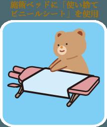 施術ベッドに使い捨てビニールシートを使用